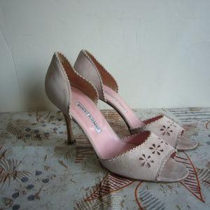 Manolo Blahnik Pink Suede Flower Pump - Size 40/10
